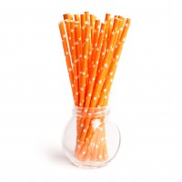 Pailles orange à étoiles whitehes - Lot de 25