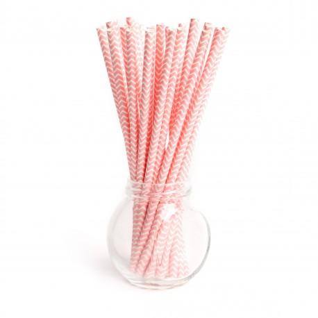 Pailles chevrons rose - Lot de 25
