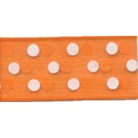 DESTOCK Ruban Organza à pois - orange - 13mm x 25m