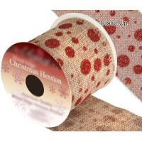 Ruban Noël jute à pois rouges 9m x 63mm