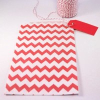 Pochette craft à chevron - rouge - lot de 10