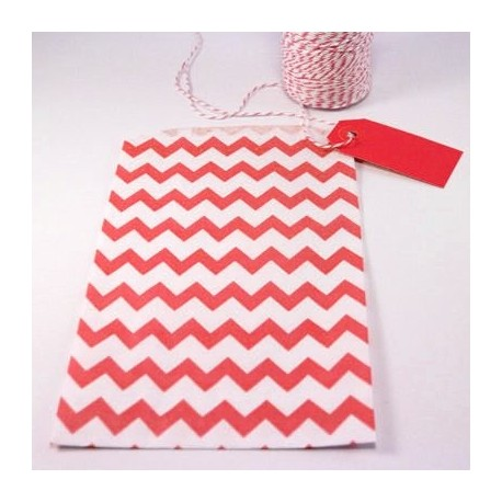 Pochette craft à chevron - red - lot de 10