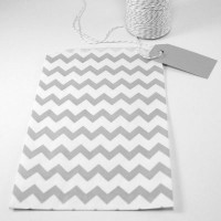 Pochette craft à chevron - gris - lot de 10