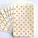 Pochette craft à pois - orange - lot de 10