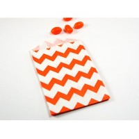 Petite pochette craft à chevron - orange - lot de 10