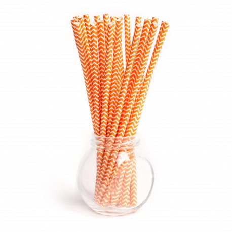 Pailles chevrons orange - Lot de 25
