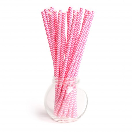 Pailles chevrons hot pink - Lot de 25