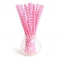 Pailles damier hot pink - Lot de 25