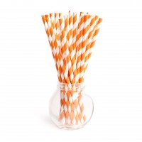 Pailles rayures orange - Lot de 25