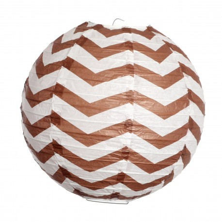 Paper lantern à Chevrons - Brown - 30cm