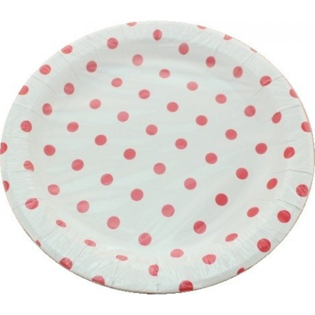 Assiettes rondes en carton 22cm à pois x 12 - red