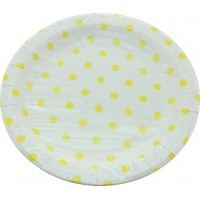 Assiettes rondes en carton 22cm à pois x 12 - yellow