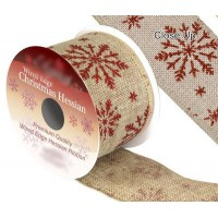Ruban Noël jute motif flocons rouges 9m x 63mm
