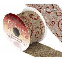 Ruban Noël jute motif arabesques rouge 9m x 63mm