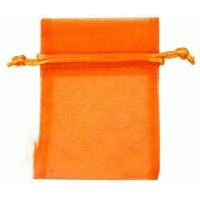10 Pochons à dragées - 7x10cm - Organza Orange