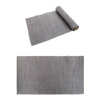 CHEMIN DE TABLE BURLAP GRIS FONCE METAL 28CMX5M