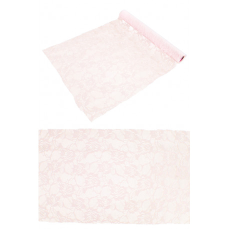 CHEMIN DE TABLE DENTELLE ROSE ROSE PASTEL 30CMX5M