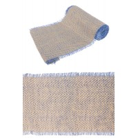 CHEMIN DE TABLE JUTE CHEVRONS NATUREL/BLEU FRANGE 29CMX3M