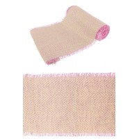 CHEMIN DE TABLE JUTE CHEVRONS NATUREL/ROSE FRANGE 29CMX3M