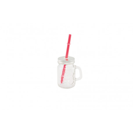 VERRE MINI MASON JAR PAILLE ROUGE COUV METAL 125ML 7,5X5,5X8,5CM