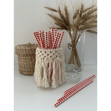 Pailles arlequin red - Lot de 25