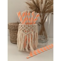 Pailles rayures orange fluo - Lot de 25