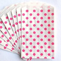 Pochette craft à pois - rose - lot de 10