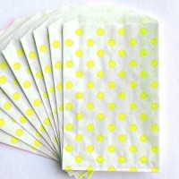Pochette craft à pois - jaune - lot de 10