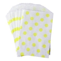 Petite pochette craft à pois - yellow - lot de 10