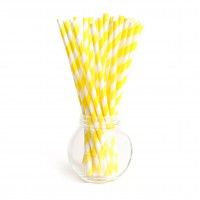 Pailles rayures yellow - Lot de 25