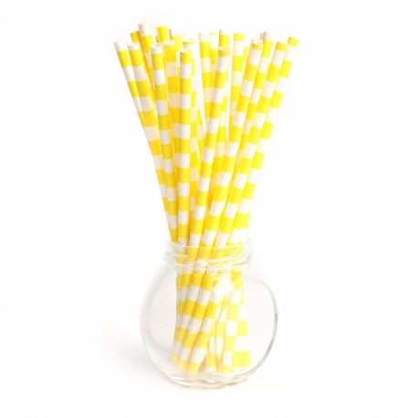 Pailles cerclée yellow - Lot de 25