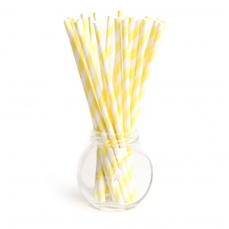 Pailles rayures yellow pâle - Lot de 25